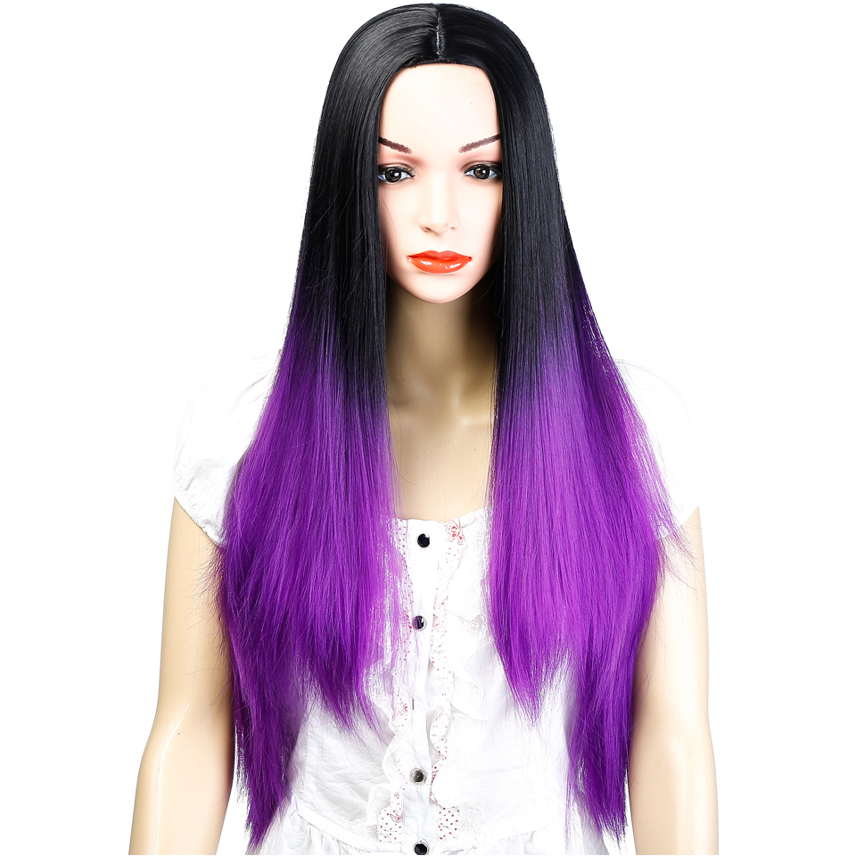 AOSIWIG Ombre Black Purple Long Straight Wigs Syntetisk Hår - Syntetiskt hår - Foto 2