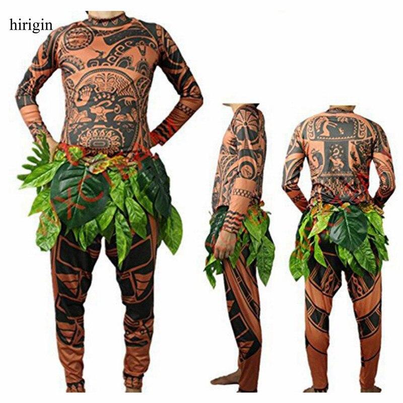 Moana Maui Tattoo T Shirt/Pants Halloween Adult Mens Women Cosplay Costumes with Leaves Decor Blattern Halloween Adult Cosplay