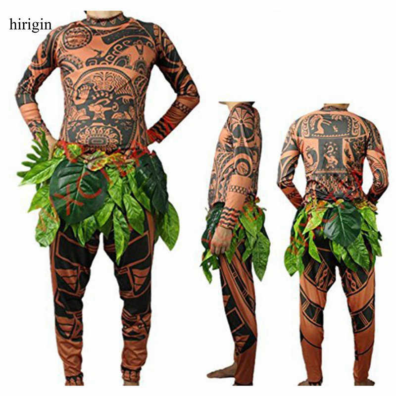 ddbfc2604cc0 Moana Maui Tattoo T Shirt Pants Halloween Adult Mens Women Cosplay Costumes  with Leaves Decor