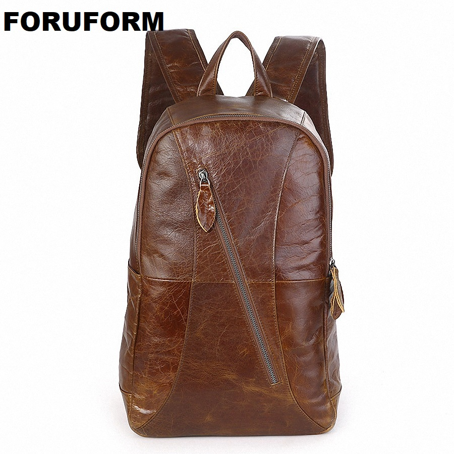New Fashion Men's Genuine Leather Backpack Men School Backpack Bag Men's Travel Bags Leather Book Bag Cowhide Backpacks LI-1511 swdvogan new travel backpack korean women rucksack pocket genuine leather men shoulder bags student school bag soft backpacks