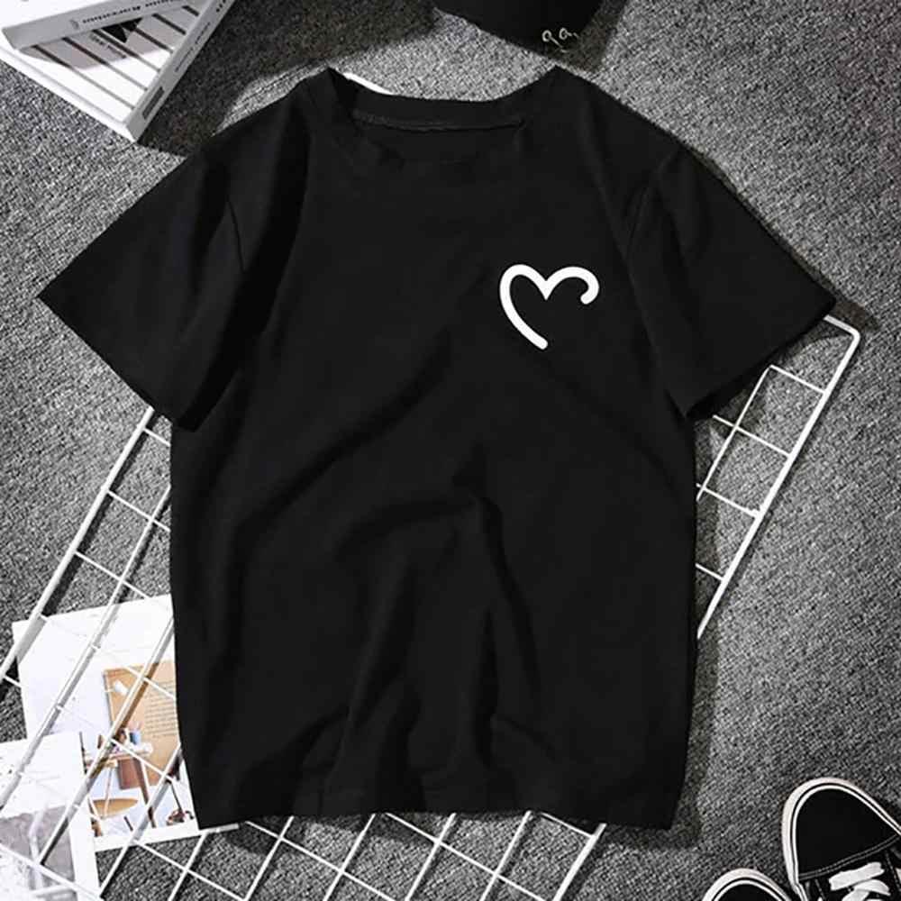2019 Coppie di Estate Gli Amanti della T-Shirt per Le Donne Casual Bianco Magliette e camicette Delle Donne della Maglietta T Shirt Amore Del Cuore Del Ricamo di Stampa T-Shirt F