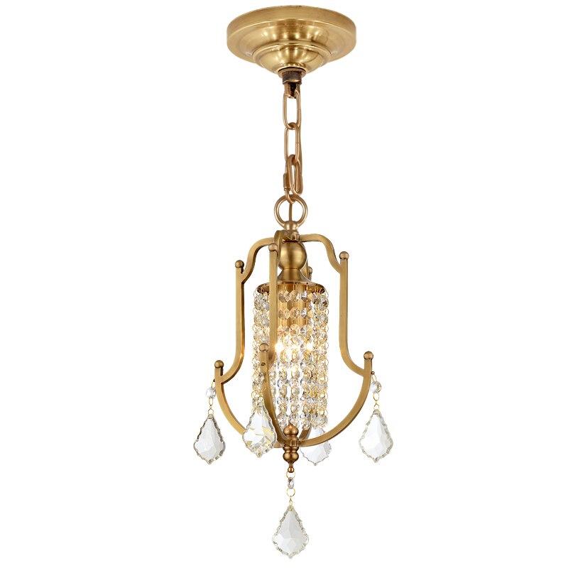 US $109.99 |Mini gold brass crystal chandelier 1 light single small copper  chandelier lighting fixture for bedroom kids room reading room-in ...