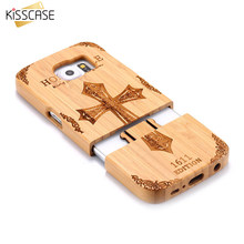 Kisscase telefone case para samsung s6 edge case capa de madeira natural retro madeira combo capa fundas coque para samsung galaxy s6 edge(China)