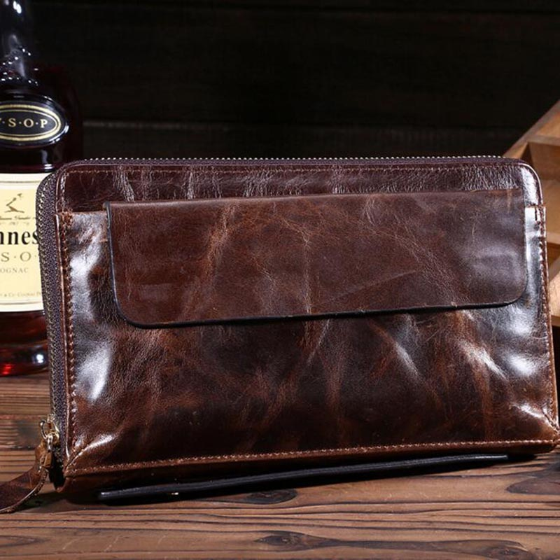 New Men's Wallets Genuine Leather Wallets Clutch Male Purse Long Wallet Men Clutch Bag Phone Card Holder Coin pocket Purses Men williampolo genuine leather men wallet handbag coin pocket phone wallets card holder leather long clutch zipper black brown 80
