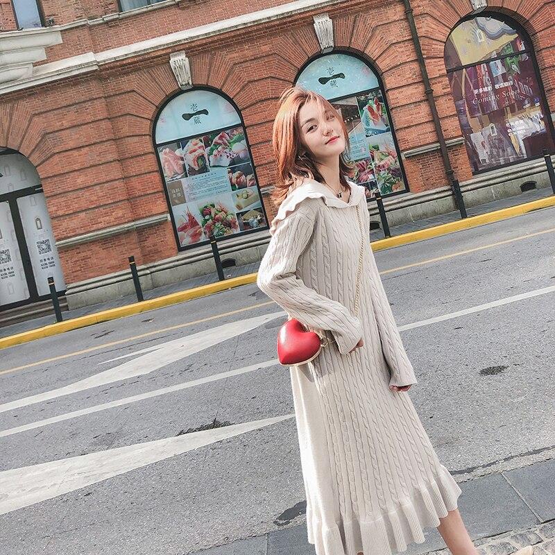 Femmes tricoté pull robe à capuche falbala rendu tricot robe femme automne hiver long 2018 nouveau papillon manches solide