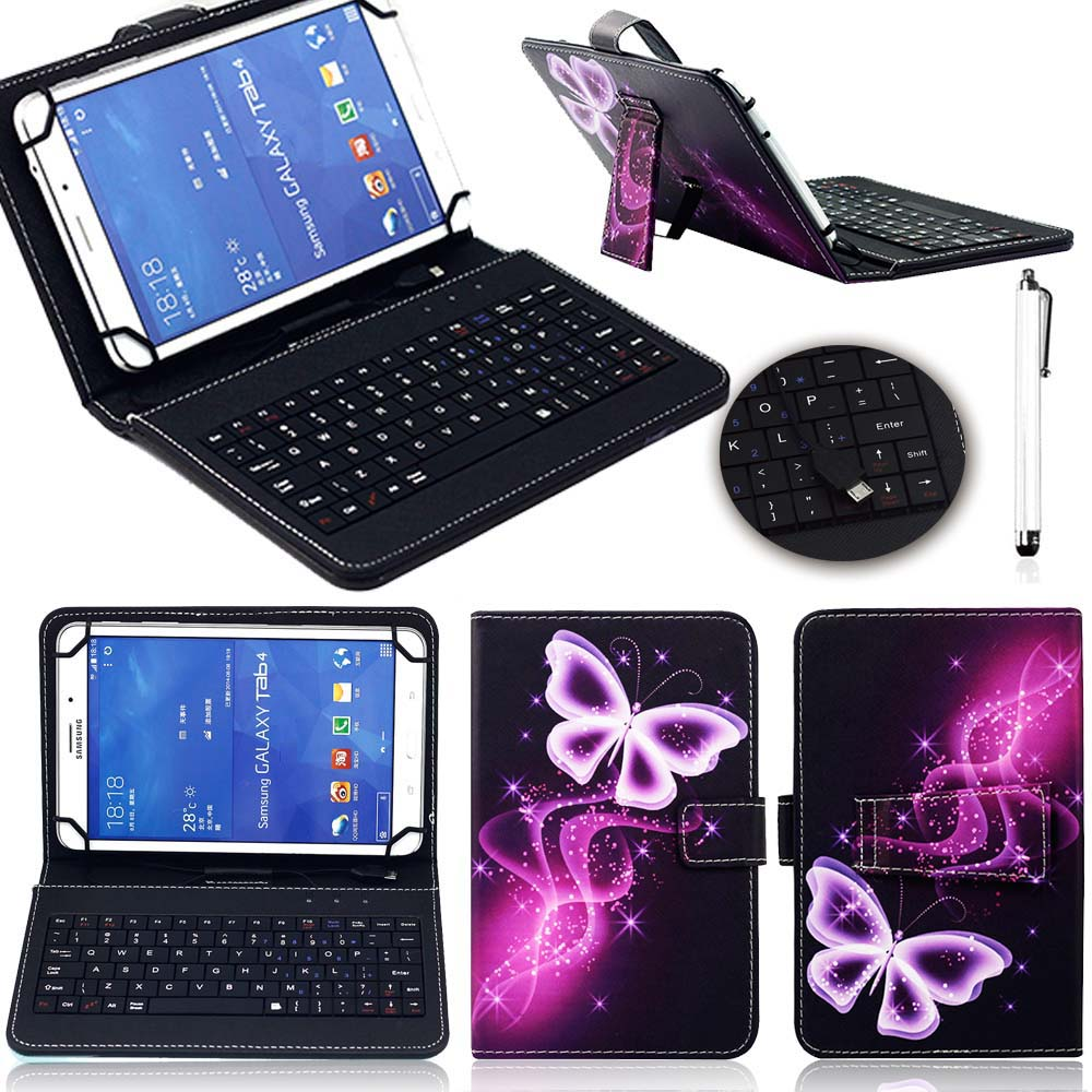 10 inch Universal Tablet Case With Micro USB Keyboard Leather Cartoon Stand Cover Protection Shell For iPad Samsung Tablets Case