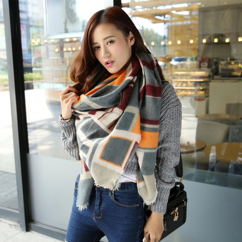 women winter plaid   scarf   new acrylic   wrap   shawls female knitted fall pashmina foulard femme