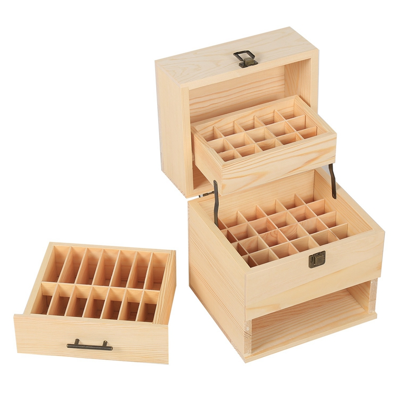59 Grid Level 3 Space Savings Wooden Storage Case Essential Oil Box Multi Tray Organizer Large Organizers in Storage Boxes Bins from Home Garden