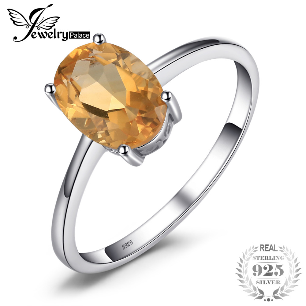 JewelryPalace Oval 1.1ct Natural Citrine Birthstone Solitaire Ring 925 Sterling Silver Engagement Rings Women Gemstone Jewelry jewelrypalace trillion 1 1ct natural purple amethyst solitaire ring 100% 925 sterling silver women fashion jewelry big promotion