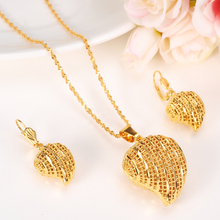 Кулон сердце Ювелирные наборы Классические Ожерелья Серьги 24 К Твердого Желтого Чистого Золота GF Арабские Африка Свадьба Невеста 'ы приданое