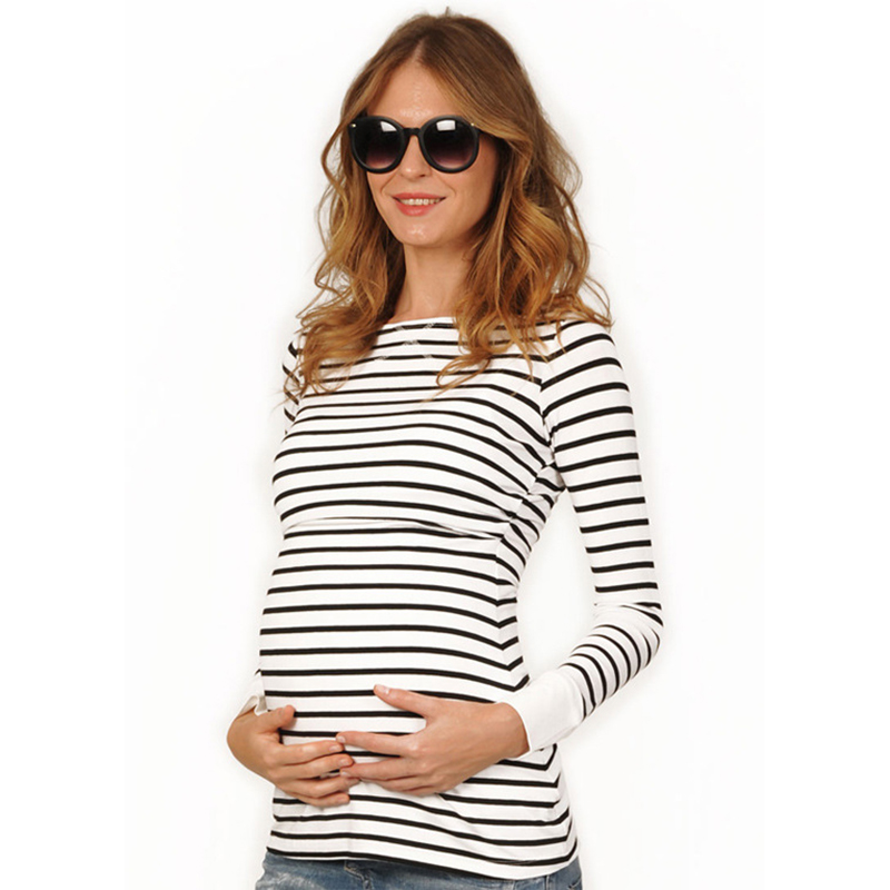 168c5bb7610 Plus Size Striped Black   White Maternity Tees Breastfeeding Clothes for Pregnancy  Women Nursing Tops Maternity Clothes