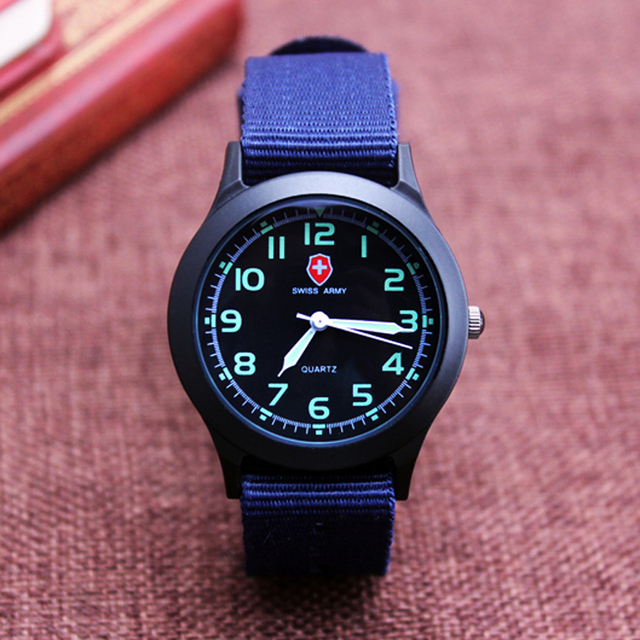 Middle school students unisex Platimum Nylon Fabric watch sport thin Boys girl's