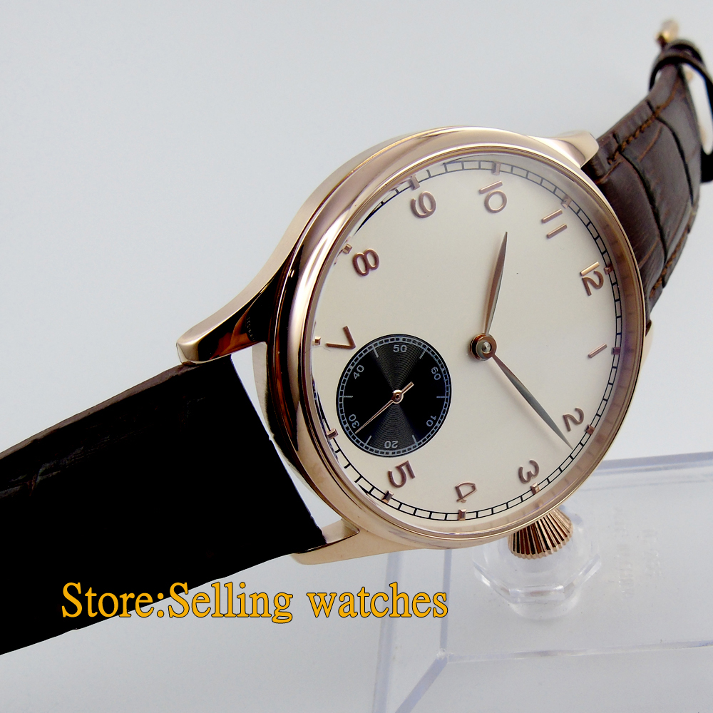 Corgeut 44mm White Dial Rose Golden case Hand Winding 6498 Men's Watch corgeut 44mm white dial rose golden case hand winding 6498 mens watch