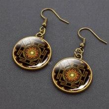 Sri Yantra Mandala Sacred Geometry Dangle Hook Earrings Copper Drop Earrings Women Fashion Spiritual Meditation Jewelry sri sri ravi shankar secrets of relationships