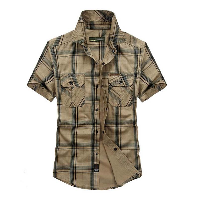 Mens Summer Shirts Fashion Plaid Short Sleeve Cotton Shirts Luxury Brand Clothing Cargidan Plus Size M-5XL