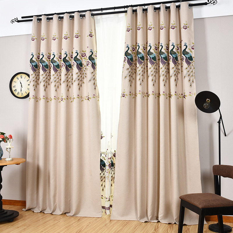 The Peacock Embroidered Curtain Modern Minimalist Living