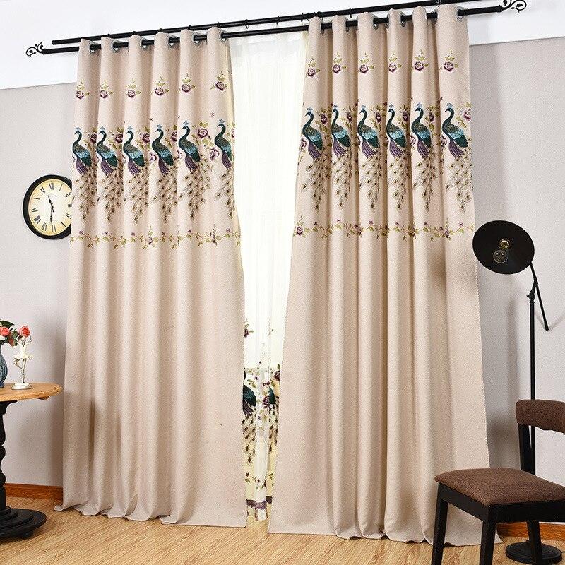 el pavo real bordado cortina moderna minimalista sala de estardormitorio cortinas beige animal envo