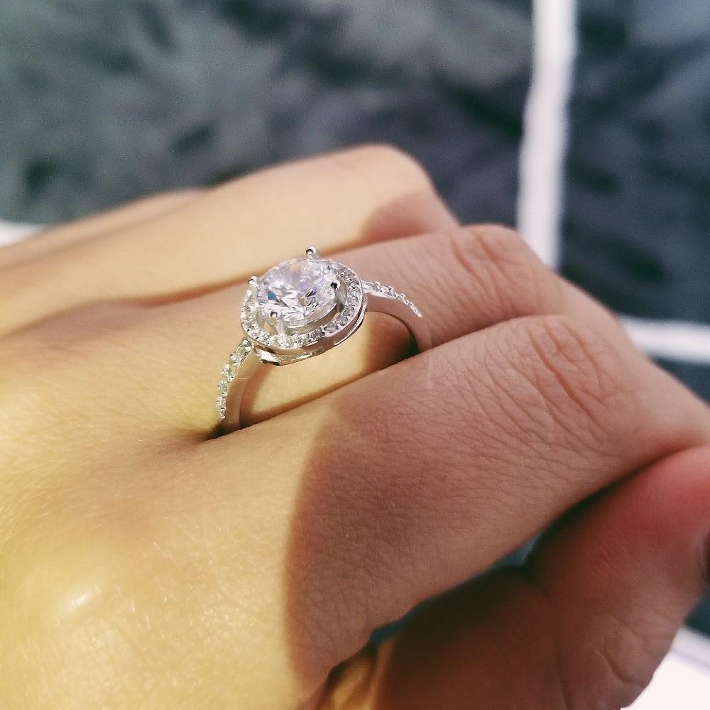 solid 925 Sterling Silver Halo Ring gul rosa för kvinnor Bröllop - Märkessmycken - Foto 3