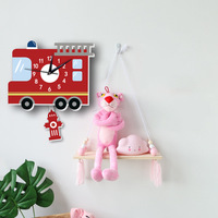 Cartoon Red Car Wall Clock Wall Stickers For Children Room Kindergarten Home Decoration Decals DIY Creative Kids Birthday Gifts
