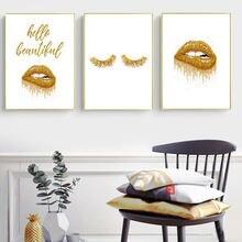 Цитата Холст Искусство Золотой капает губы настенные плакаты