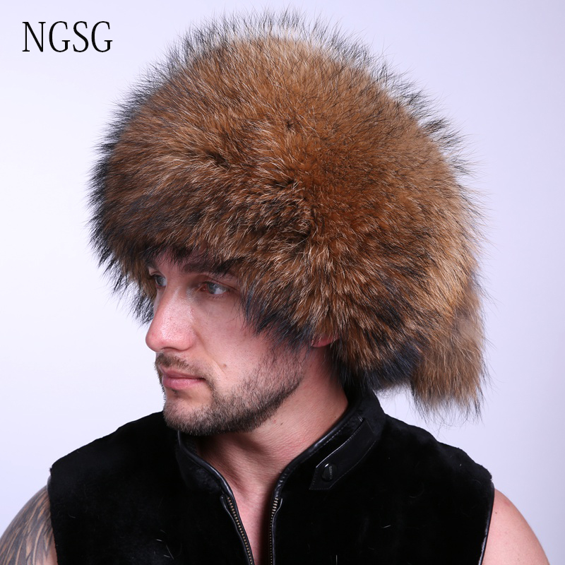 Fluffy Fur Men Hat Mongalia Type Suit For Cold Season Guarantee 100% Racoon Dog Material Popular Unique Design EA4050-2 russian hats for extremely cold fur hat guarantee 100