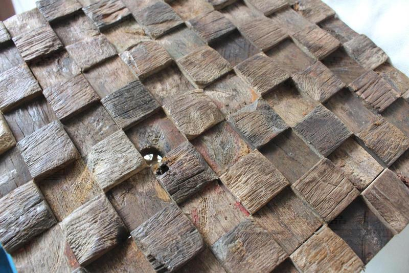 Square pattern old ship wood tiles rustic wood dining room for Country style kitchen wall tiles