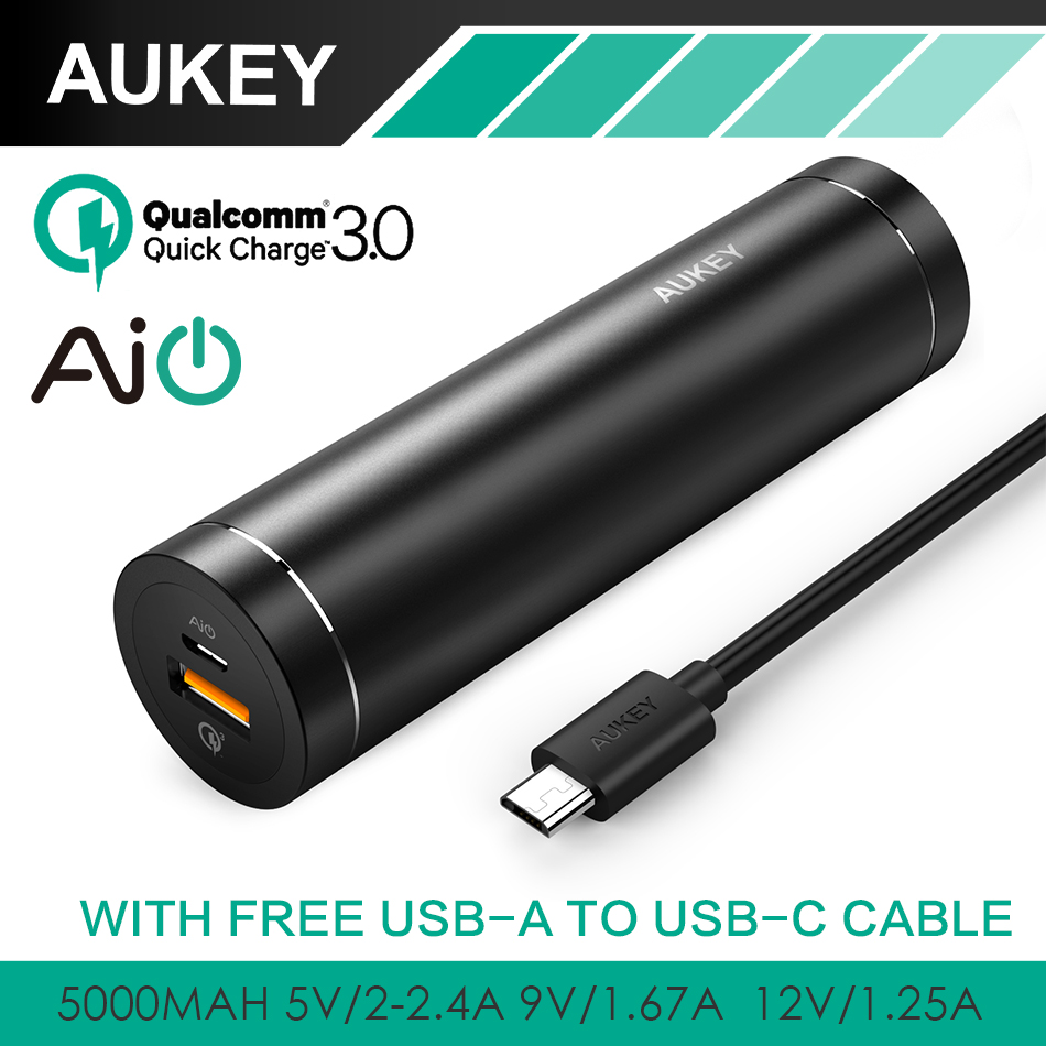 AUKEY Quick Charge 3 0 5000mAh Mini Cylindrical Power Bank With AiPower Adaptive Charging Portable External