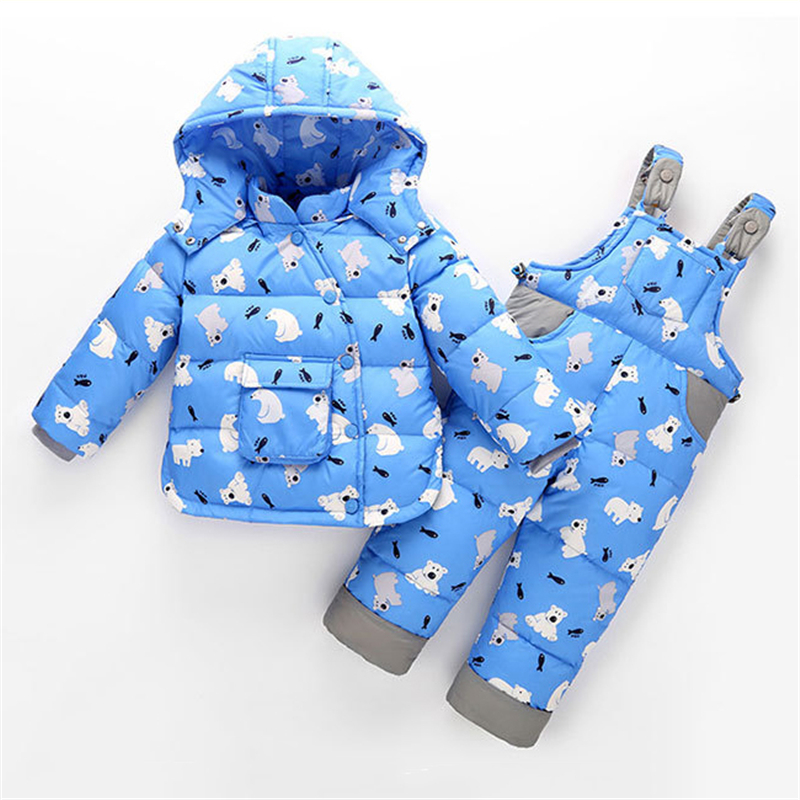 fashion winter Children clothing set Russia baby Girl ski suit sets Boy Outdoor sport Kids down coats Jackets + trousers