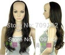 Natural Kanekalon Fiber Hair wigs human Women's half bulkness half fashion female dark brown wave wig 3/4 wigs