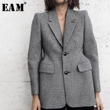 [EAM] 2019 New Autumn Full Sleeve Plaid Turn-down Collar Pockets Button Medium Length Coat Women Fashion Tide OA817(China)
