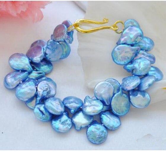 Удача жемчужные украшения, 2 ряда 8 дюймов 15 мм Монета синий Пресноводный Культивированный жемчужный браслет