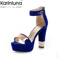 KARINLUNA High Quality 2018 Fashion Big Size 33 43 Summer High Heels Black Blue Women Shoes