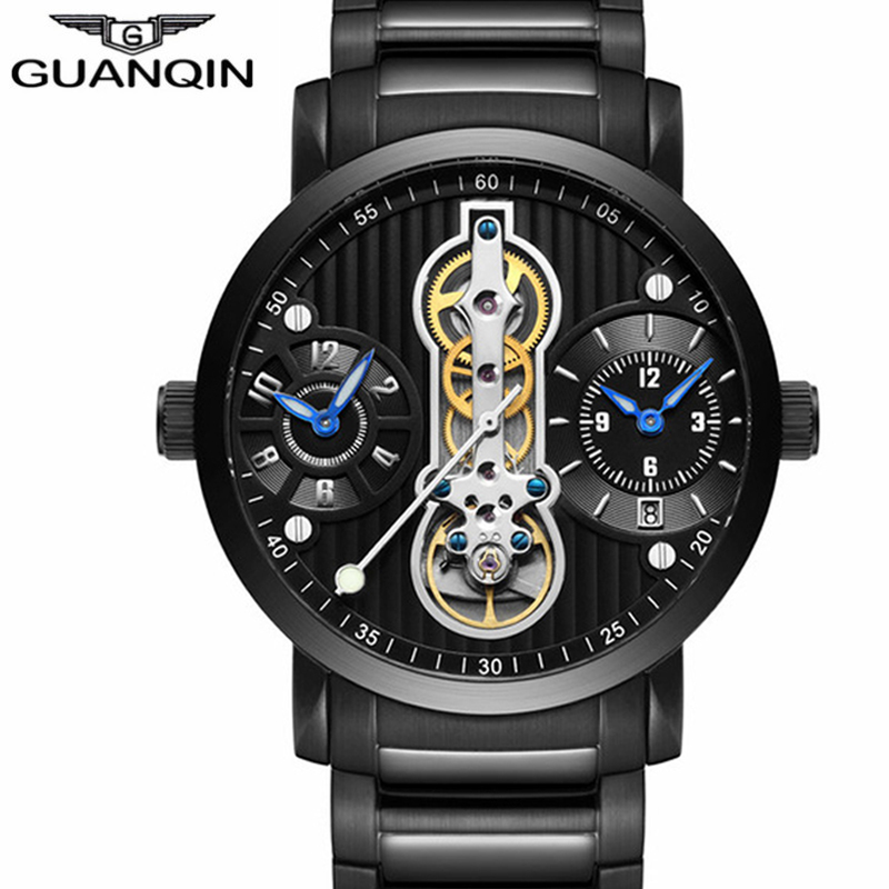GUANQIN Luxury Brand Creative Automatic Skeleton Men Watch Tourbillon Full Steel Waterproof Men's Business Mechanical Watches цена 2017