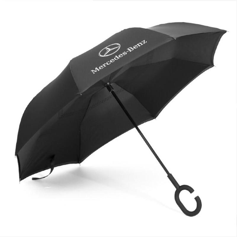 Creative car logo Mercedes umbrella long handle reverse umbrella 8 bone C type handle double windproof umbrella-in Umbrellas from Home & Garden
