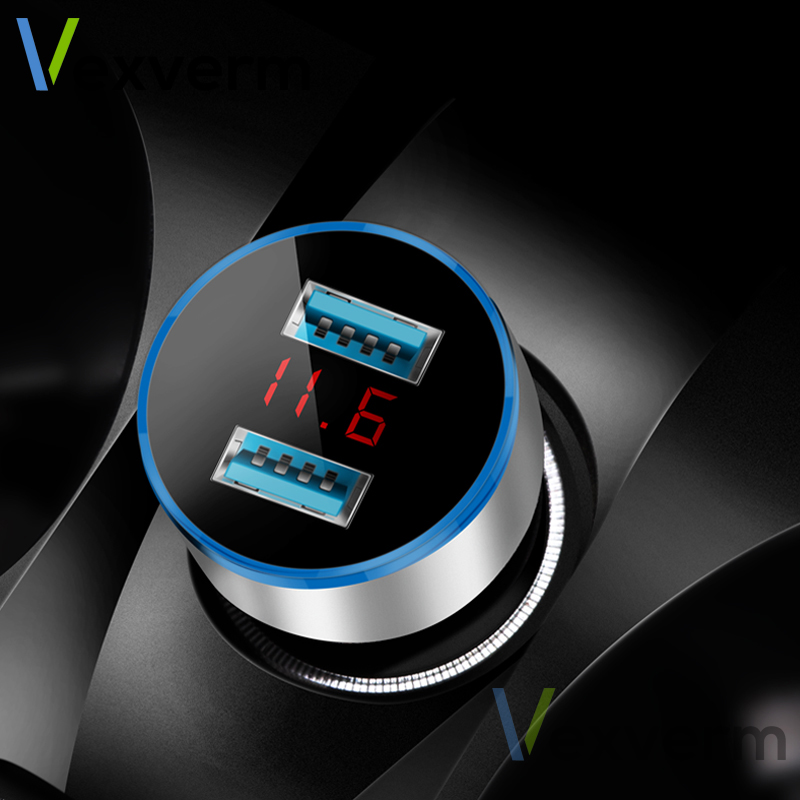 3.1A デュアル USB 車の充電器 2 ポート Lcd ディスプレイ 12-24 12v のシガーソケットライター車の充電器 iphone samsung xiaomi huawei など