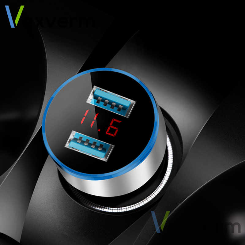 3.1A Dual USB Car Charger 2 Ports LCD Display 12-24V Cigarette Socket Lighter Car Charger for iphone samsung xiaomi huawei etc