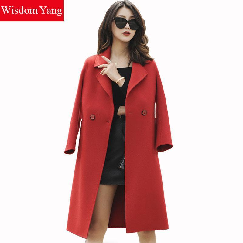 Décontracté blue Femmes Survêtement En De Coat Manteaux khaki Femelle Coat Long Tranchée Élégant Manteau Pardessus Beige red Coat Femme Laine Hiver 2018 Bandage Dames Chaud Rouge Coat 5qZw6fU1