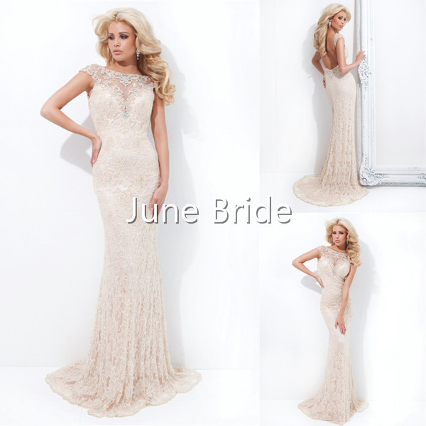New Style Free Shipping Light Pink Nude Lace Backless Sheer Prom ...