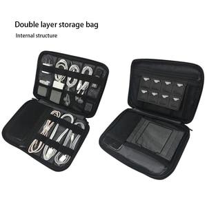Image 4 - Acessórios eletrônicos de camada dupla única engrossar saco organizador de cabo caso portátil para discos rígidos, cabos, carga, ipad