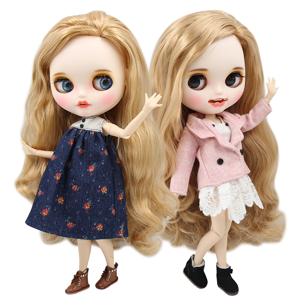 ICY factory blyth doll 1 6 bjd white skin joint body golden hair side parted new