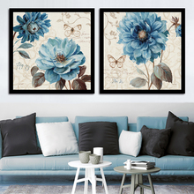 Minimalist Home Wedding Decoration Canvas Art Beautiful Blue Flower Nordic Style Print Painting Poster HD Wall Modular Pictures