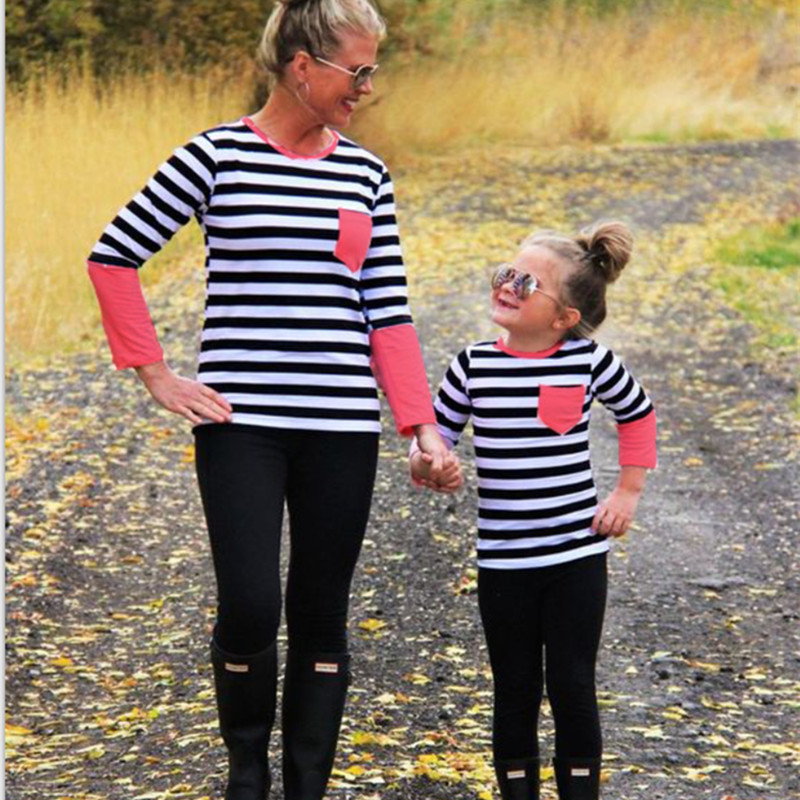 Family Matching Outfits Autumn Winter Striped Family Christmas Pyjamas T Shirts Pocket Mother Mom and Daughter Matching Clothes
