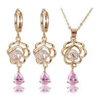 Luxury wedding accessories bridal pink quartz stone pendents imitation arabic jewellery sets china jewelry thailand bangladesh