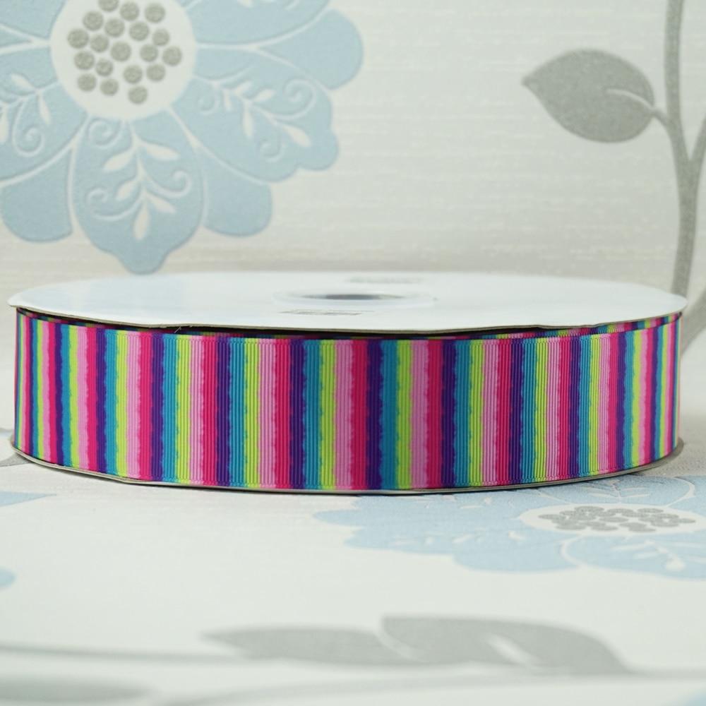 Распродажа 1-1/2 «38 мм Красочные полосы Радуга печатных Grosgrain ленты DIY луки материалы для малышей/детей ремесел 100 ярдов