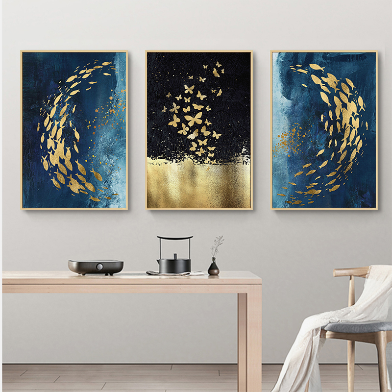 . Golden Fish Butterfly Wall Art Canvas Painting for Living Room Home  Decoration