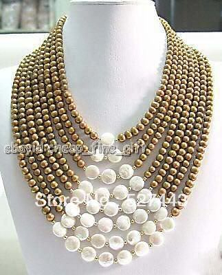 FREE SHIPPING>>@> Wholesale 6-7MM Chocolate FW Pearl & Coin Pearl 8 Rows Necklace NEW цена и фото
