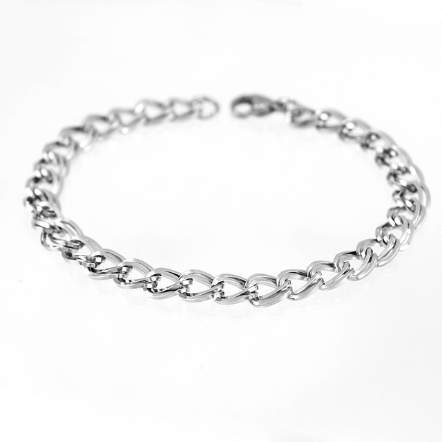 Women/Men Bracelet Stainless Steel Daily Wristband Bangle Unique Double Square Line Twist Rolo Chain Bracelet  2018 New