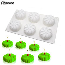 SHENHONG Pumpkin Lantern 3D Silicone Mold 6 Holes Cake Moulds Mousse For Ice Creams Chocolates Pastry Art Pan Bakeware Dessert(China)