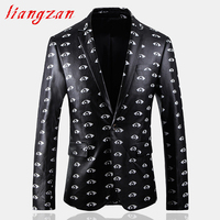 Men Blazer Suit Brand Slim Fit Jacket Suit Male High Quality Eye Printed Big Size M 5XL Youth Casual Blazer SL F073