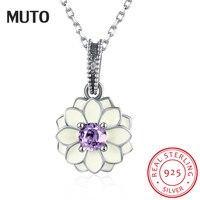 MUTO Enamel Lotus shape CZ Pendant Necklace for Women Luxury 925 Sterling Silver Fashion Fine Jewelry SVXL1981